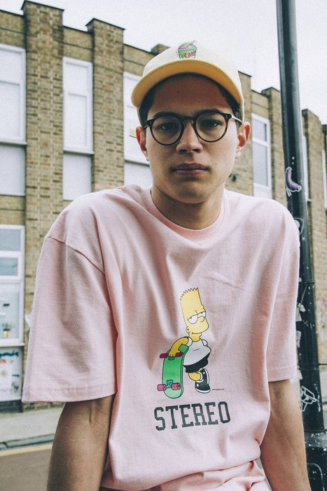 ☆AirRoom☆ STEREO VINYLS X Simpsons Skater Bart 辛普森 粉紅 限量 短T