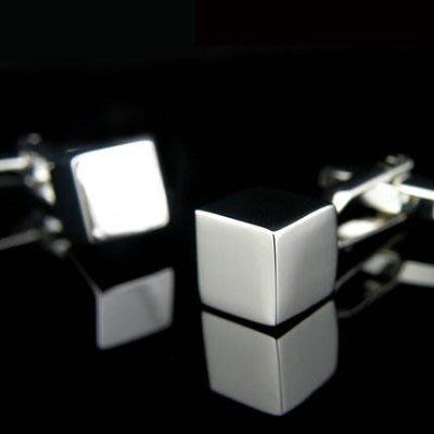 立方體金屬袖扣銀色法式襯衫男袖扣 Z110