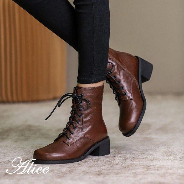 『Alice❤愛麗絲』秋冬新款小個子顯瘦系帶粗跟高跟馬丁靴短筒靴子女單靴潮