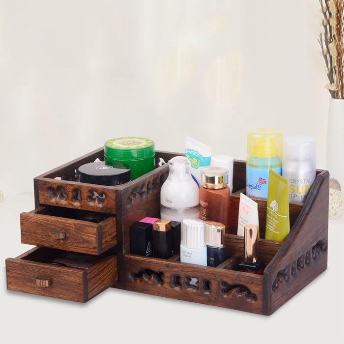5Cgo【鴿樓】含稅會員有優惠 538660499781 泰國抽屜式實木化妝品梳妝台護膚品木制桌面收納盒多功能格化妝盒
