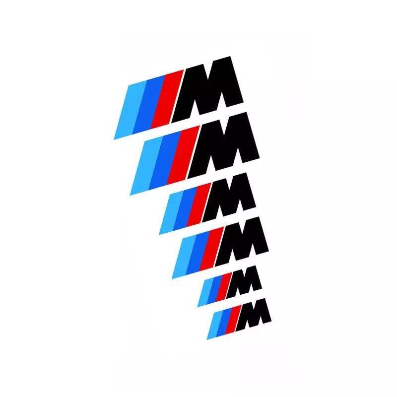 BMW 寶馬三色M標字貼 進口反光貼紙 煞車卡鉗貼 隨意貼 輪框鋼圈轉印車貼 一套六張 黑白兩色可選