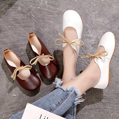 運動鞋 休閒鞋小白鞋女新款平底百搭系帶韓版簡約學生圓頭森女復古兩穿單鞋