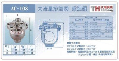 """AC-108 大流量排氣閥 (鍛造銅) 3/4"""""""