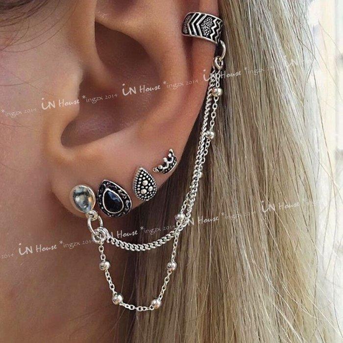 IN House*🇹🇼現貨 一套4個 earring 歐美復古水滴皇冠鏈條流蘇 仿銀 耳骨夾 耳釘 耳環 男女 耳圈