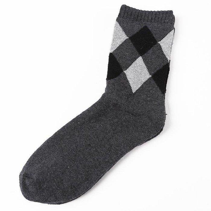 卡羅の鋪 純棉加厚四季襪防臭 灰色菱格 男士襪子 菱形長襪子運動襪子KL688