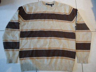 bossini淡棕色咖啡色條紋圓領純羊毛毛衣,尺寸:L,香港製.少穿 降價大出清.