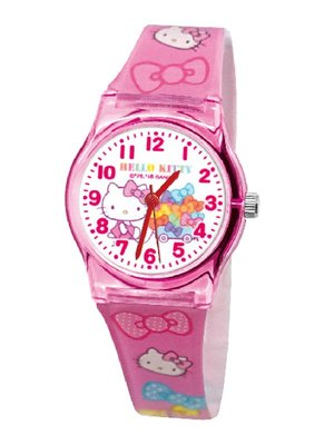 【卡漫迷】 Hello Kitty 膠錶 粉色 ㊣版 台灣製 手錶 兒童錶 女錶 卡通錶 蝴蝶結 凱蒂貓 女孩