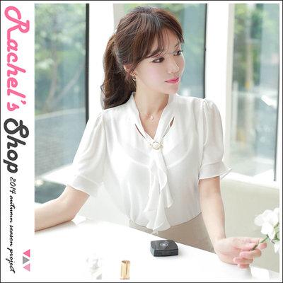 韓國空運*浪漫飄飄波浪領巾+珍珠金扣雪紡紗上衣[FI-M6878]Rachel's Shop