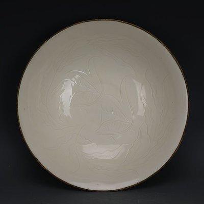 ㊣姥姥的寶藏㊣ 宋代定窯雕刻魚藻紋包金邊大號瓷碗  出土文物古瓷器古玩古董收藏