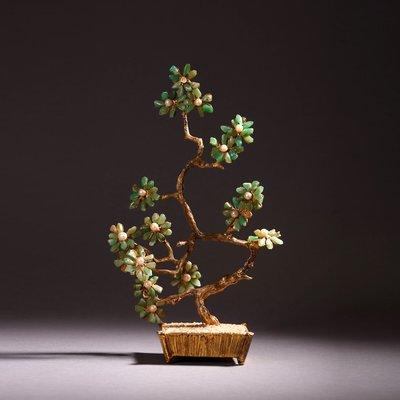 悅年堂 --- 銅鎏金 鑲 翡翠 花瓣...