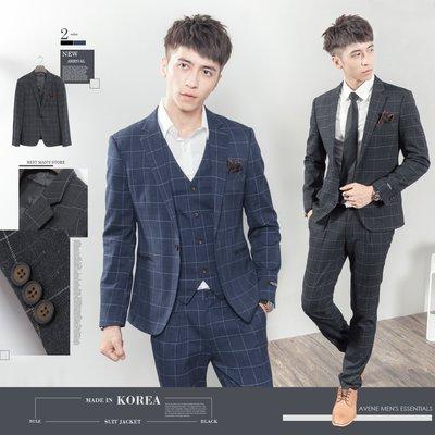 。SW。【K31185】 免運 正韓K.V 韓國製 修身顯瘦 質感西裝布 窄版 雅痞紳士 格紋 西裝外套 英倫 GD