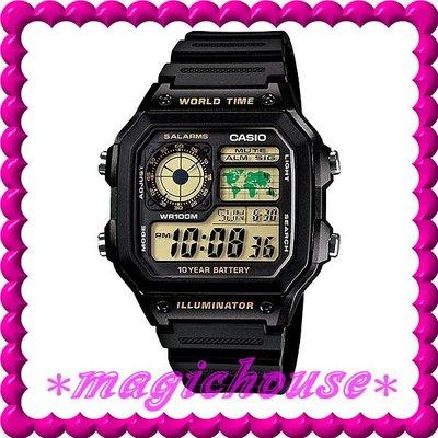 ?夢幻精品屋?CASIO原廠公司貨~世界時間電子錶AE-1200WH-1B