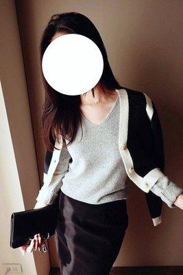 轉賣CHAN.W 正韓 必備零毛料飽和base衫(V領)長袖上衣灰色
