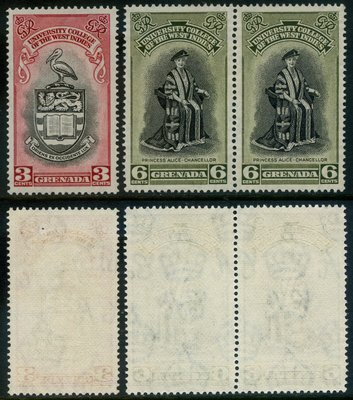 郵紳_23922_格瑞那達_西印度大學紀念_1951年_2全一套半 _原膠新票_美品_背潔無貼_低價起標無底價