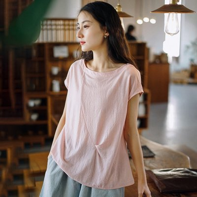 短袖上衣 (WD5105) 小編推薦款:必包色的超清涼透氣天絲棉痲短袖上衣 寬鬆T恤
