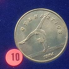 ☆承妘屋☆1984年美國洛杉磯奧林匹克運動會奧運紀念章 ~ZAB.體操.10