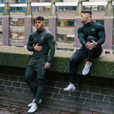 歐美健身服 肌肉兄弟健身長袖T恤潮男跑步訓練打底衫青年運動彈力器械上衣服