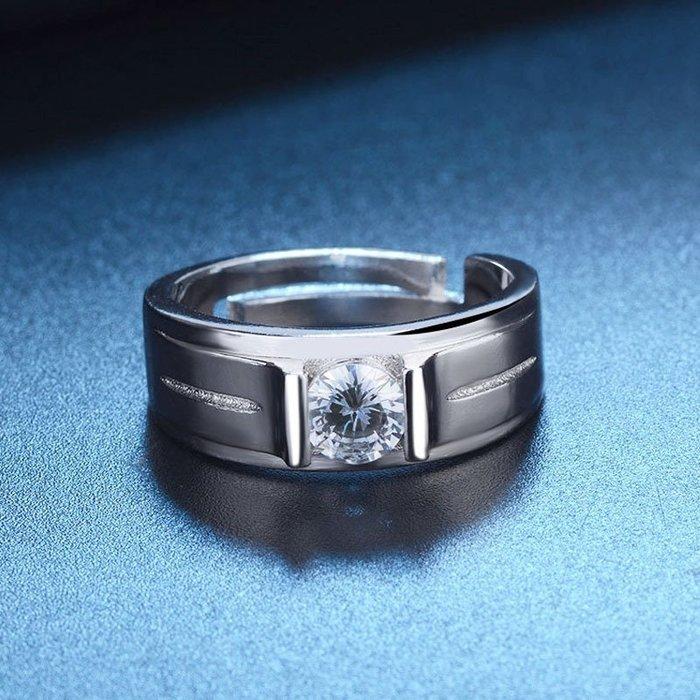 日韓時尚素雅男戒鋯石水鑽可調式開口戒指情人節禮物生日禮物買一送二