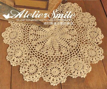 [ Atelier Smile ] 鄉村雜貨 復古作舊 棉質圓型蕾絲花邊桌墊 桌布 裝飾墊 圓形 40*40 (現+預)