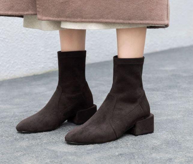 楞宅 - 英倫低跟真皮短靴裸靴馬丁靴機車靴 /GF128
