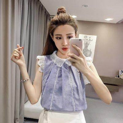 2018夏裝新款韓版娃娃領鏤空蕾絲打底衫拼接雪紡襯衫女短袖上衣潮