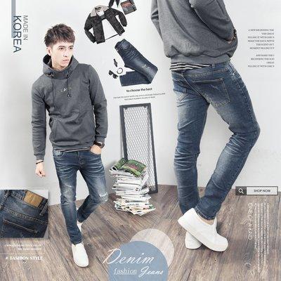 。SW。【K91606】正韓D.CR 韓國製 修身 抽鬚破壞 藍白刷紋內補丁 窄版 挺實彈性單寧布 彈性牛仔單寧褲 GD