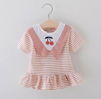 女童裙 洋裝 小童格子連身裙 寶寶飛袖公主紗裙嬰幼童裙0-3歲—莎芭