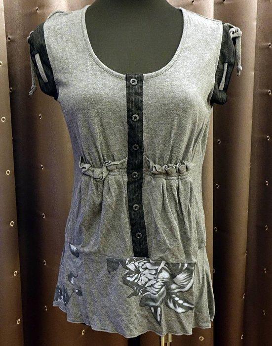 近全新只穿過一季 Cop Copine 家族法國品牌 C. YOU 灰色可愛設計款上衣,2 號!免運!