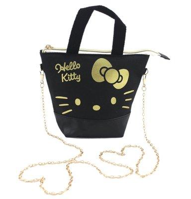 【卡漫迷】 Hello Kitty 可觸控 肩背包 帆布 黑 ㊣版 斜背包 手機包 外出 隨身包 化妝包 側背包 手提包
