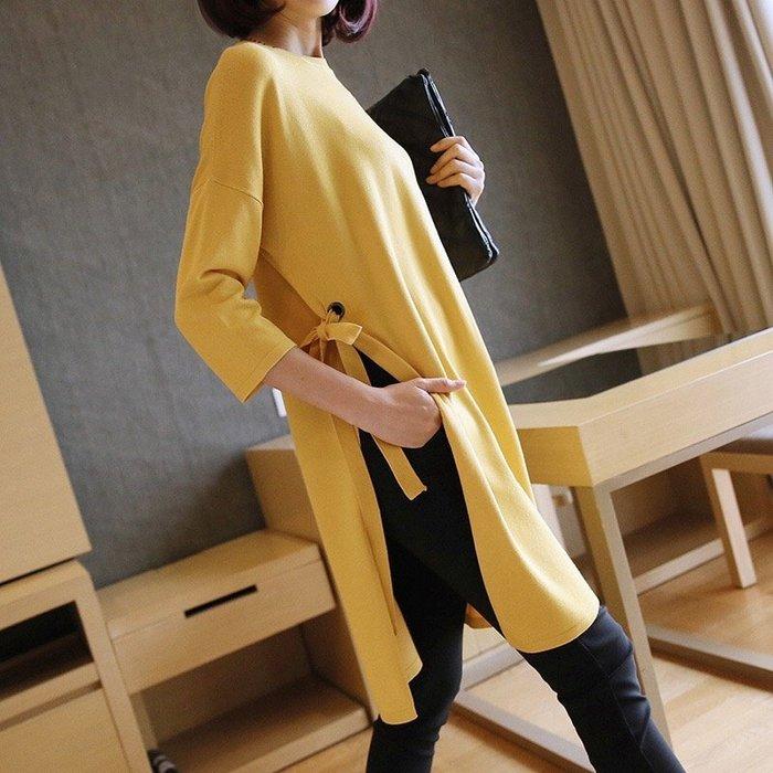 《現貨》酒紅/黃/藍/黑 北歐簡約精緻質感 素色中長版時尚系帶寬鬆針織衫 圓領針織衫 毛衣 Baonizi 寶妮子