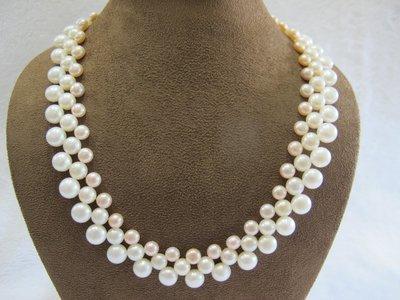 二手舖~ NO.60 天然珍珠項鍊 戒指吊墜子首飾手環耳環 (珍珠大小約6-8mm)