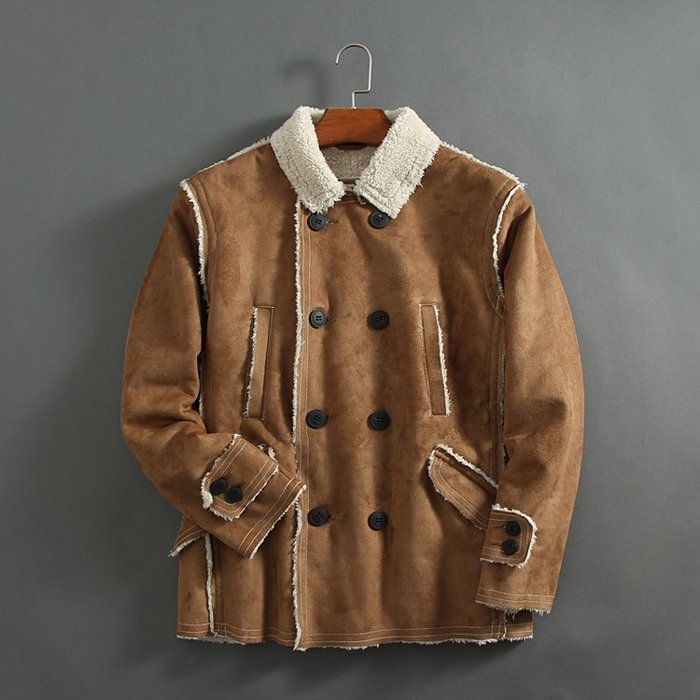 香港OUTLET代購 休閒雙排扣外套 羊羔絨夾克 麂皮絨 外套防風 保暖 加絨 西班牙訂單 歐美風 ZARA風格外套
