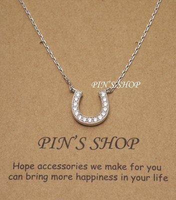 【Pin's shop】純銀鑲鑽馬蹄鐵項鏈 項鍊