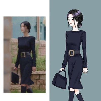 雖然是精神病但沒關係徐睿知高文英同款黑色修身長袖包臀连身裙