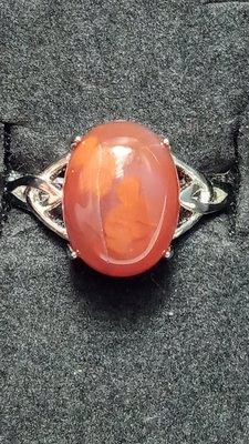 [天天有好物]   天然水晶  川料南紅瑪瑙  半銀戒指  一元競標無底價 #0516