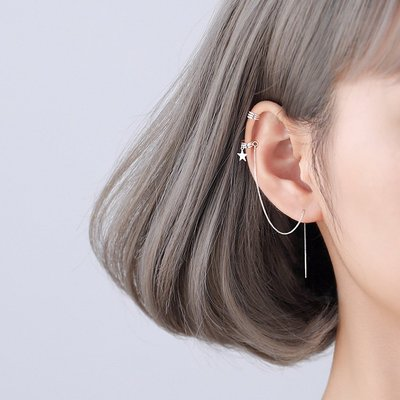 Lan韓國專櫃925純銀耳線女2020新款潮氣質長款一體式耳掛耳釘耳骨夾耳飾耳環