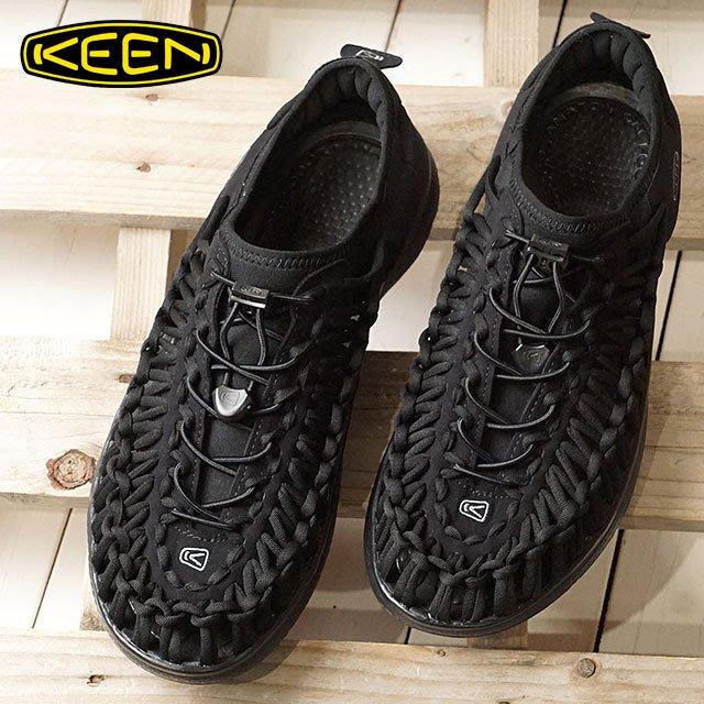 南◇2019 6月 KEEN UNEEK O2 涼鞋 全黑色 包頭 懶人鞋 護指 編織 戶外 綁繩 男 1018709