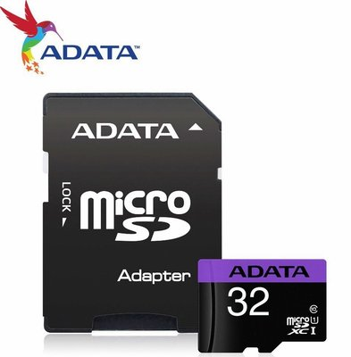 威剛 ADATA 記憶卡 microSD 32G 直購$146 U1紫卡 80M/s 附轉卡 終身保固公司貨
