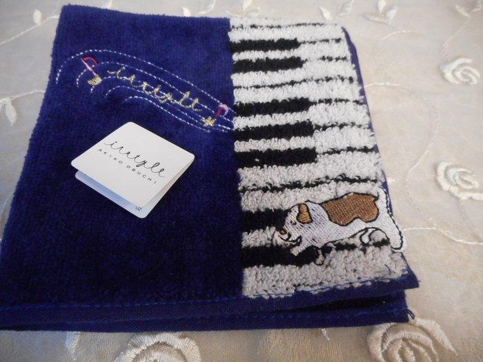 ~~凡爾賽生活精品~~全新日本進口鋼琴鍵盤動物造型深藍色小方巾.手帕