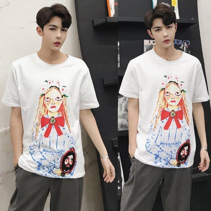 『潮范』 S3 新款短袖T恤 純棉T恤 韓版個性印花男士人物圖案T恤 撞色T恤NRG325
