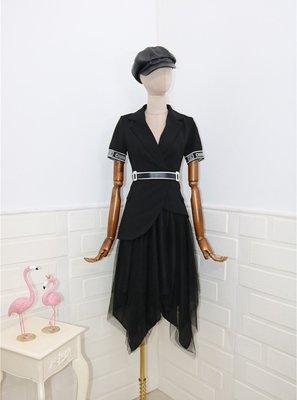 集美屋正韓女裝~~~女人味V領氣質時尚洋氣西裝外套+不規則網紗裙中長款半身裙套裝
