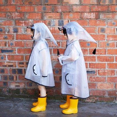 兒童雨衣 透明雨衣(1入)-尖頂帽流蘇透明帽簷兒童雨披73pp598[獨家進口][米蘭精品]