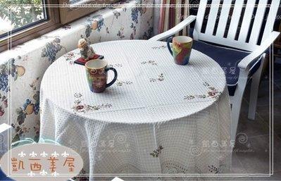 凱西美屋 英式田園手工亞麻原色鉤針緞帶玫瑰花 145公分圓形桌巾 桌布 茶幾蓋巾 電視蓋巾