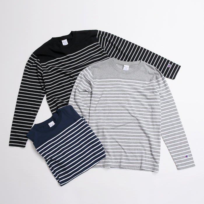 【Shopa】現貨 特價 日本 Champion 小咬標 LOGO 橫條紋 長袖 T恤 C3-J428
