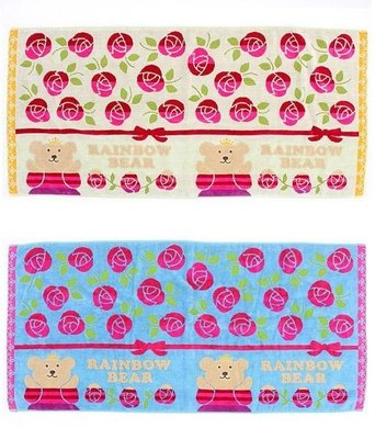 尼德斯Nydus~* 日本正版 彩虹熊 Rainbow Bear 浴巾 大毛巾 玫瑰花 120cm 100%純棉-日本製