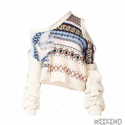【WEEKEND】 PREEN BY THORNTON BREGAZZI 拼接 破壞 露肩 針織 長袖 上衣 18秋冬