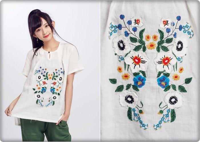 !!!((中國藍Anewei))自然風米白苧麻繡花短袖上衣~F~品味自然 舒適透氣 纖維之后