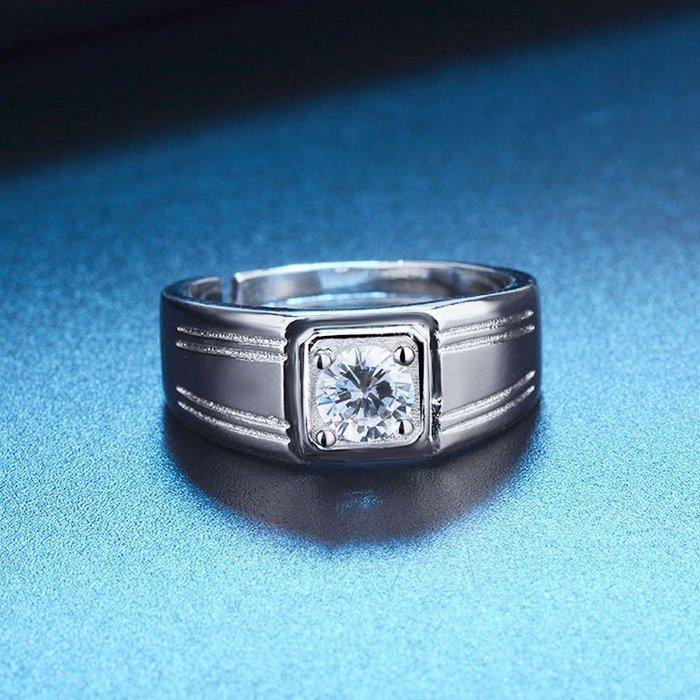 日韓時尚白金四線男戒鋯石水鑽可調式開口戒指情人節禮物生日禮物買一送二