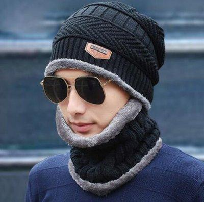 毛帽 圍巾 圍脖 新款帽子男冬天加絨毛線針織帽 情侶套包頭棉帽保暖潮—莎芭