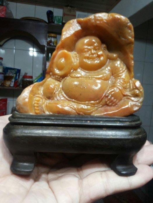 321小舖&雕工有神韻越南老沃(老撾)金田黃元寶彌勒佛附訂製木底座